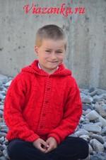 Вязаная кофта с капюшоном для мальчика 7-8 лет