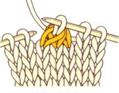 Провязанные петли сбрасываем с левой спицы.