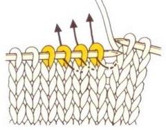 Первые четыре петли разворачиваем и переодеваем на правую спицу.