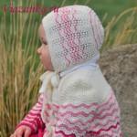Бело-розовый комплект для девочки. Шапочка