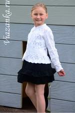 белая ажурная кофточка для девочки 7-8 лет
