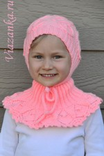 шапочка спицами для девочки 4-6 лет