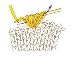 Протягиваем нить через образовавшиеся на крючке семь петель.