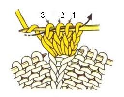 Провязывание четырёх петель.