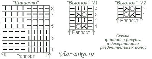 Схемы вязания фонового узора и разделительных дорожек.