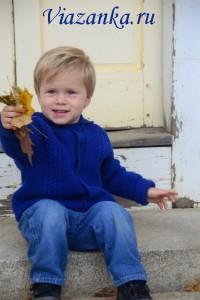 Куртка с капюшоном, связанная из шерстяной пряжи, для мальчика 3-5 лет.