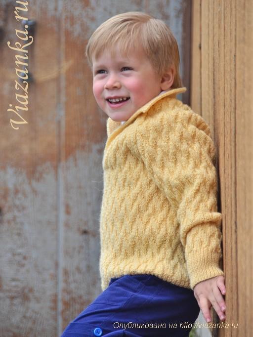 свитер с рукавом реглан узором из лицевых и изнаночных петель