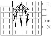 """Схема вязания """"Бабочки"""" из трёх протяжек на основе трёх вытянутых петель"""
