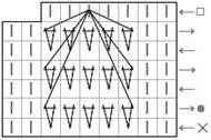 """""""Бабочка"""" из трёх протяжек на основе пяти вытянутых петель"""