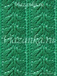"""Образец вязания ажурного узора """"Дорожка из листьев"""""""