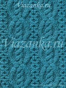 Образец вязания узора со жгутами и перемещениями