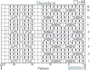 "Схема вязания узора ""Бабочки и цепи"""