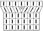 Схема вязаного полотна с прибавлением петли перекрещенным накидом