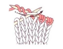 Три витка рабочей нити на правой спице при вязании удлинённой петли