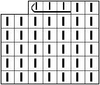 Изображение горизонтально вытянутой влево петли на схеме вязаного полотна