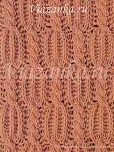 Образец вязания фантазийного узора английская резинка со жгутами