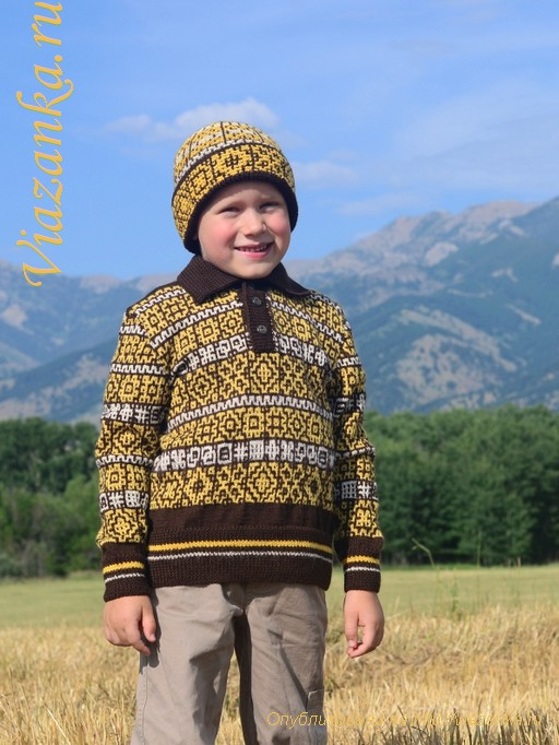 общий вид шапки с отворотом для мальчика 6-7 лет