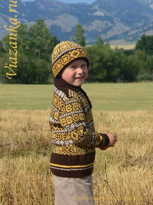 вид сбоку шапки с отворотом для мальчика