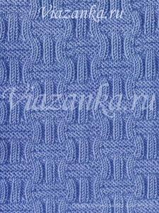 """образец вязания узора """"Квадраты из резинки"""" из лицевых и изнаночных петель"""