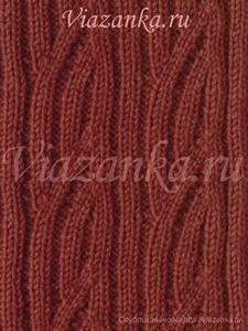 "образец вязания ажурного узора ""Жгут из резинки"""