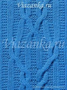 образец вязания плотного узора со сложными трёхуровневыми перемещениями