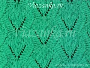 "образец вязания ажурного узора ""Сердечки-2"""