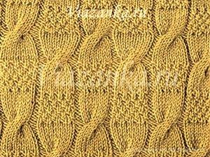 """образец вязания узора """"Рельефные жгуты"""""""