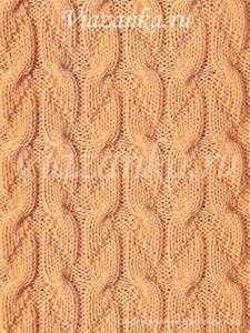 """образец вязания узора """"Бантики"""" из отрезков жгутов"""