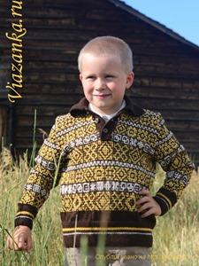 общий вид джемпера с застёжкой поло для мальчика 5-7 лет
