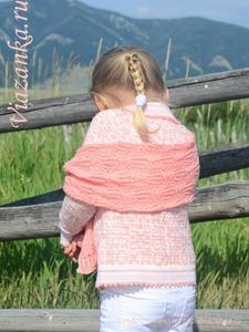 вид 4 ажурного шарфа для девочки
