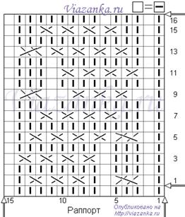 """схема вязания узора """"Снежный след"""" из перемещений"""