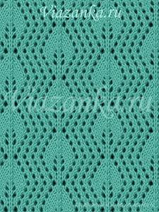 образец вязания ажурного узора листики на сетке