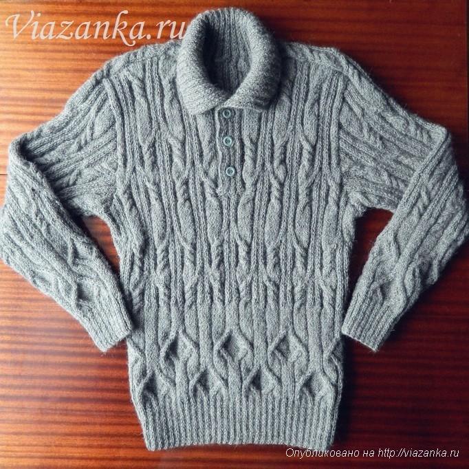 мужской свитер спицами 1
