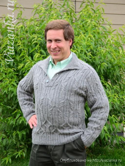 мужской свитер спицами общий вид