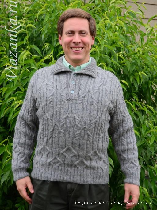 вид спереди мужского свитера спицами