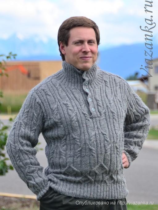 мужской свитер с застёгнутым воротником