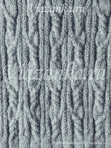 узор плотного вязания из жгутов и перемещений