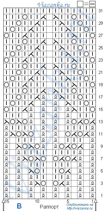 схема вязания узора B