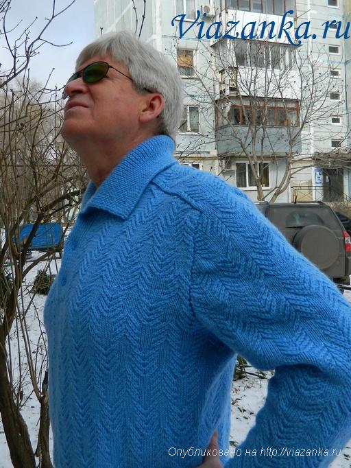 мужской свитер спицами 7