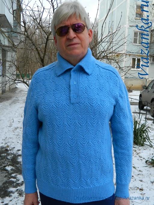 мужской свитер спицами 9