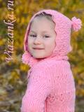 Шапка-капюшон для девочки 5-7 лет