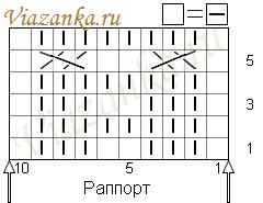 """Схема вязания боковых полос-""""бабочек"""""""
