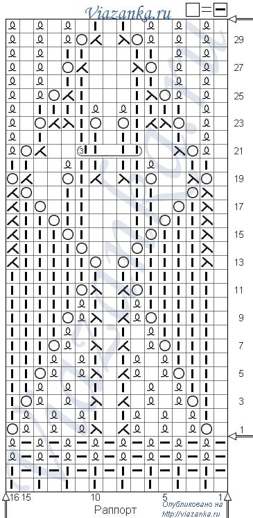 """схема вязания ажурного узора """"Соколы"""""""