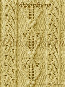 """образец вязания ажурного узора """"Осенние листья"""""""