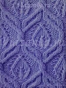 """образец вязания фантазийного узора """"Ажурные листья в жгутах"""""""