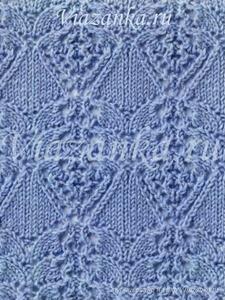 """пример вязания ажурного узора """"Локоны"""""""