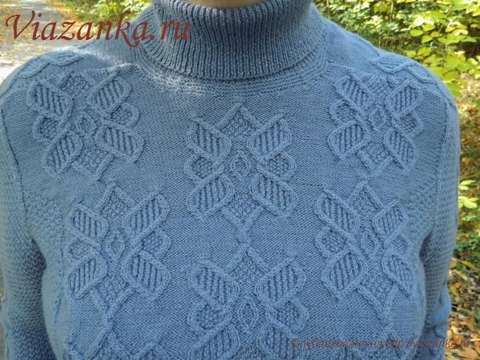 серый женский свитер спицами 5