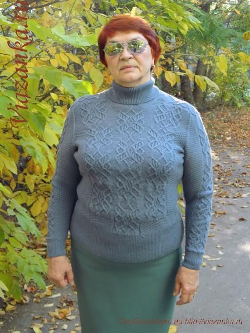 серый женский свитер спицами 7