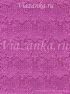 """образец вязания узора """"Пурпурное сердце"""" из лицевых и изнаночных петель"""