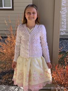 Белый кардиган для девочки 7-9 лет